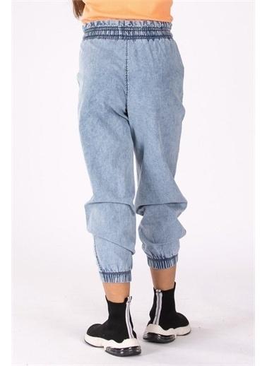 Riccotarz Kız Çocuk Beli Ve Bilekleri Lastikli Kot Pantolon. Mavi